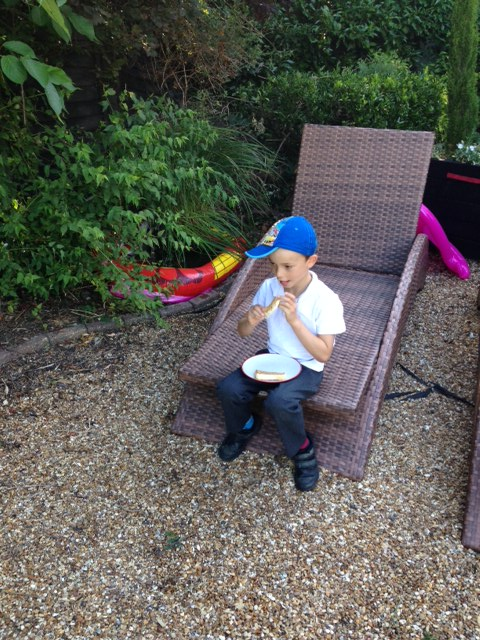 Louis doesn't want to miss any of the action so joins in with his toast